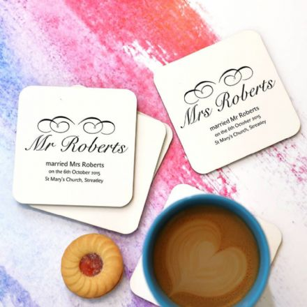 Personalised 'Mr And Mrs' Coaster Set